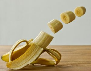 banana being cut up